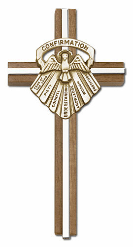BlissEngravable 6 inch Seven Gifts of the Holy Spirit Confirmation Walnut w/ Antique Gold inlay Wall Cross