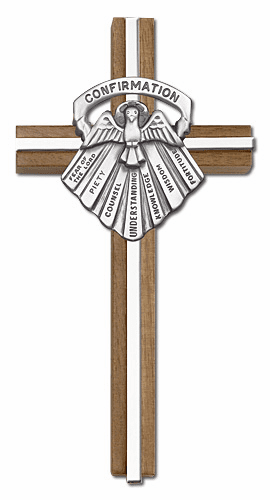 Bliss Engravable 6 inch Seven Gifts of the Holy Spirit Confirmation Walnut w/ Antique Silver inlay Wall Cross