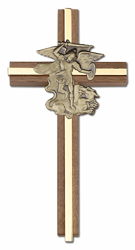 Bliss Engravable 6 inch St Michael the Archangel Walnut w/ Antique Gold inlay Wall Cross