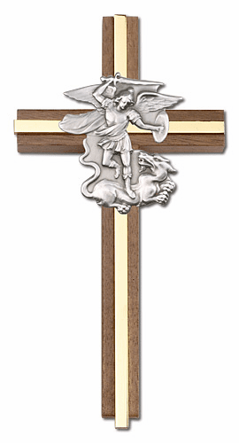 Bliss Engravable 6 inch St Michael the Archangel Walnut w/ Antique Silver inlay Wall Cross