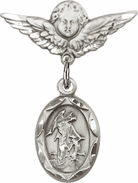 "Bliss Angel w/Wings Label Pin Baby Badge with Christian Charm ""More Charms"""