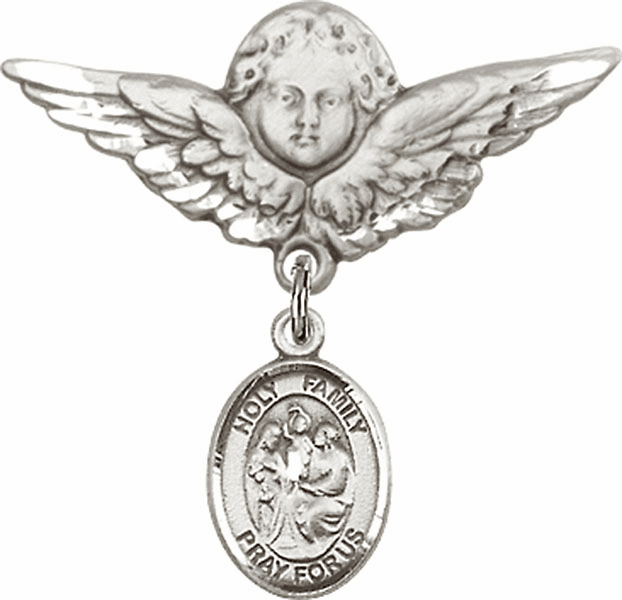 Bliss Angel w/Wings Label Pin Baby Badge with Holy Family Charm