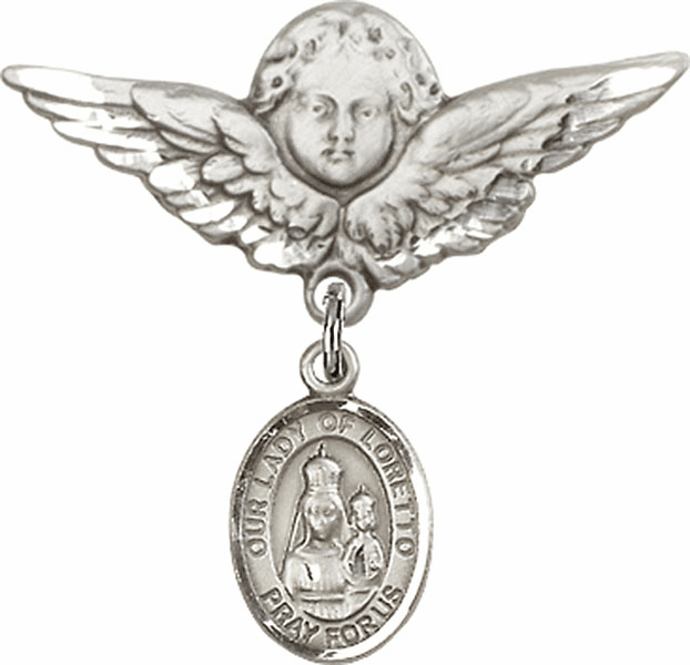 Bliss Angel w/Wings Label Pin Baby Badge with Our Lady of Loretto Charm