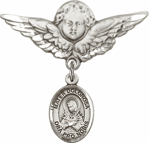 Bliss Angel w/Wings Label Pin Baby Badge with Our Lady of Sorrows - Mater Dolorosa Charm