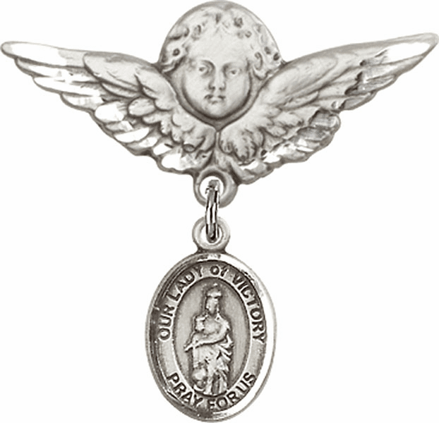 Bliss Angel w/Wings Label Pin Baby Badge with Our Lady of Victory Charm