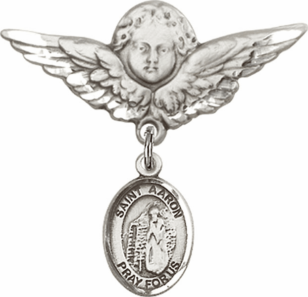 Bliss Angel w/Wings Label Pin Baby Badge with St Aaron Charm
