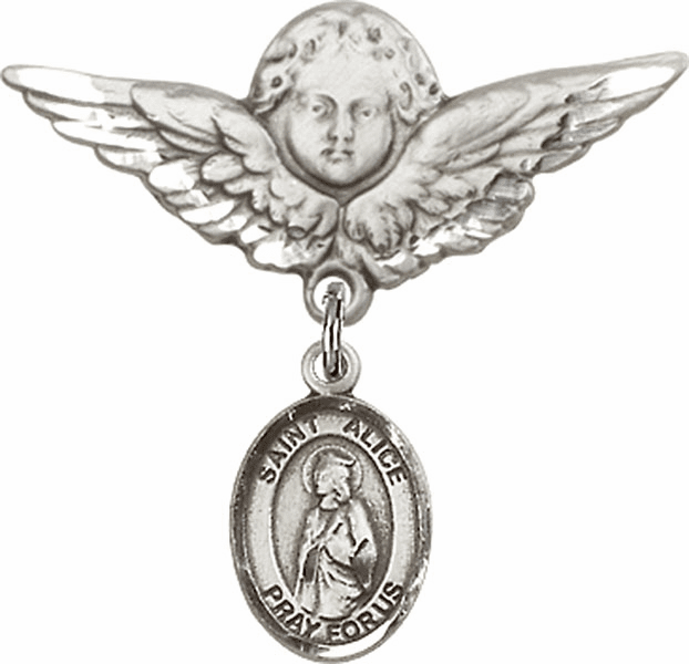 Bliss Angel w/Wings Label Pin Baby Badge with St Alice Charm