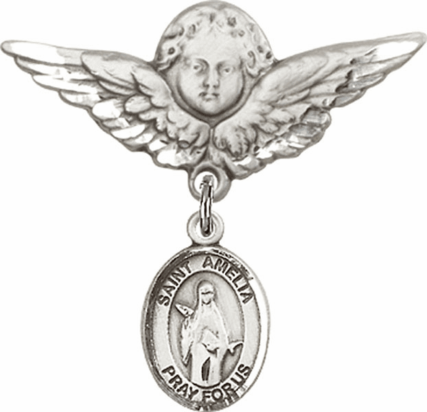 Bliss Angel w/Wings Label Pin Baby Badge with St Amelia Charm