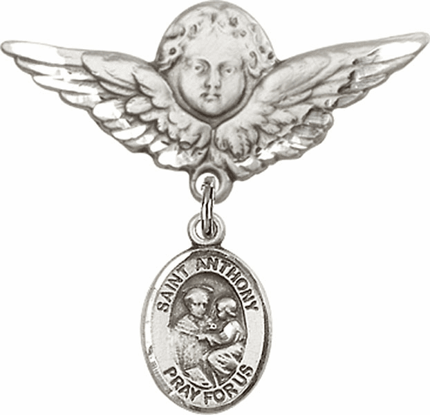 Bliss Angel w/Wings Label Pin Baby Badge with St Anthony of Padua Charm