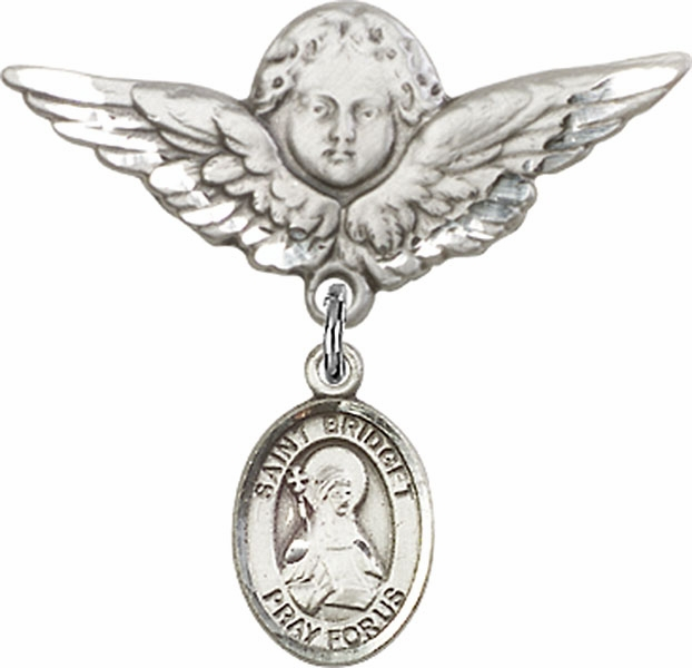 Bliss Angel w/Wings Label Pin Baby Badge with St Bridget of Sweden Charm