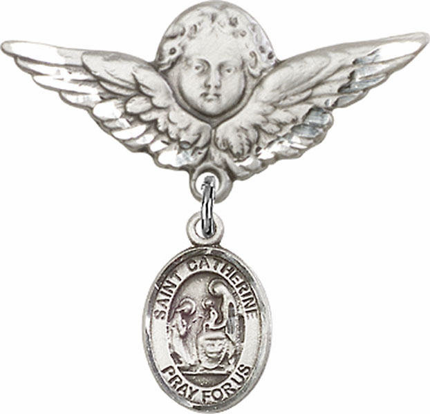 Bliss Angel w/Wings Label Pin Baby Badge with St Catherine of Siena Charm