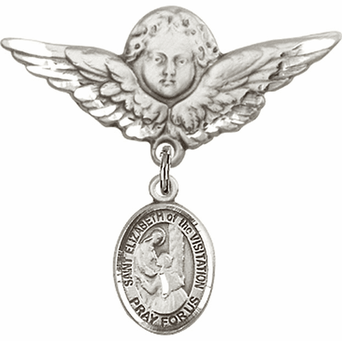 Bliss Angel w/Wings Label Pin Baby Badge with St Elizabeth of the Visitation Charm