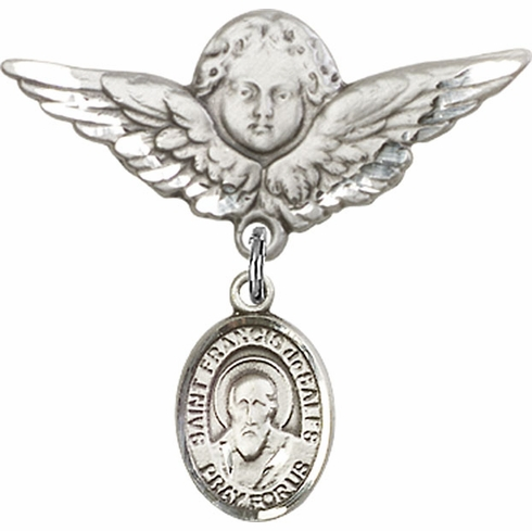 Bliss Angel w/Wings Label Pin Baby Badge with St Francis de Sales Charm