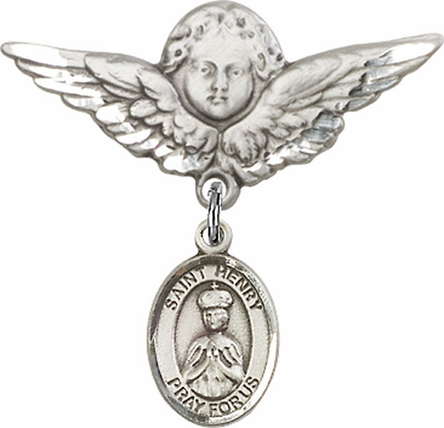 Bliss Angel w/Wings Label Pin Baby Badge with St Henry II Charm