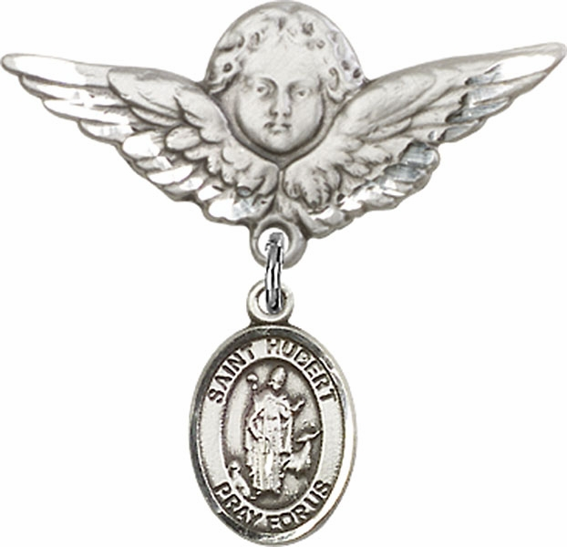 Bliss Angel w/Wings Label Pin Baby Badge with St Hubert of Liege Charm