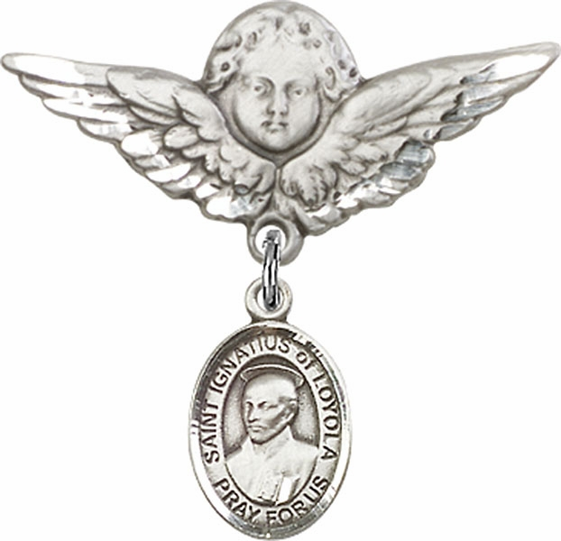 Bliss Angel w/Wings Label Pin Baby Badge with St Ignatius of Loyola Charm