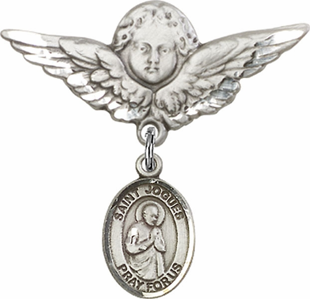 Bliss Angel w/Wings Label Pin Baby Badge with St Isaac Jogues Charm