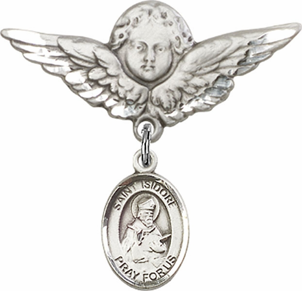 Bliss Angel w/Wings Label Pin Baby Badge with St Isidore of Seville Charm