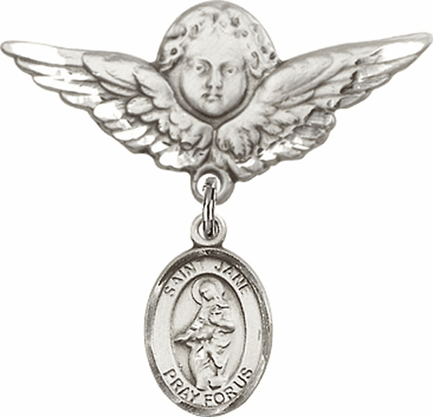 Bliss Angel w/Wings Label Pin Baby Badge with St Jane of Valois Charm