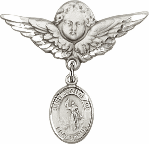 Bliss Angel w/Wings Label Pin Baby Badge with St Joan of Arc Charm