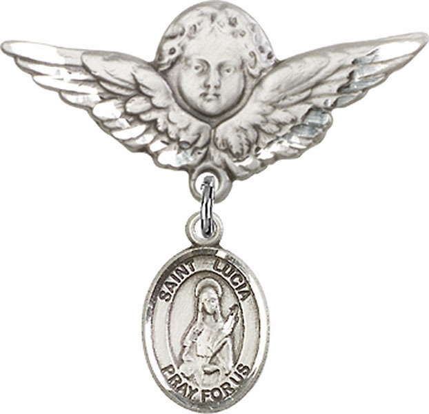 Bliss Angel w/Wings Label Pin Baby Badge with St Lucia of Syracuse Charm