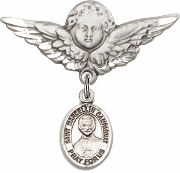 Bliss Angel w/Wings Label Pin Baby Badge with St Marcellin Champagnat Charm