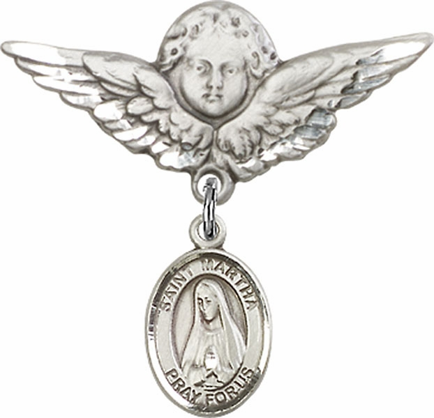 Bliss Angel w/Wings Label Pin Baby Badge with St Martha Charm