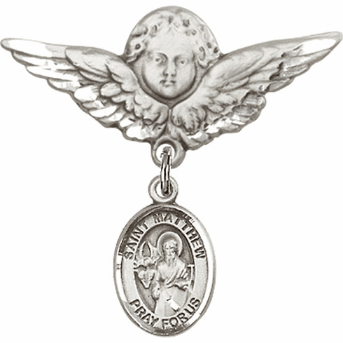 Bliss Angel w/Wings Label Pin Baby Badge with St Matthew the Apostle Charm