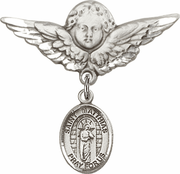Bliss Angel w/Wings Label Pin Baby Badge with St Matthias the Apostle Charm