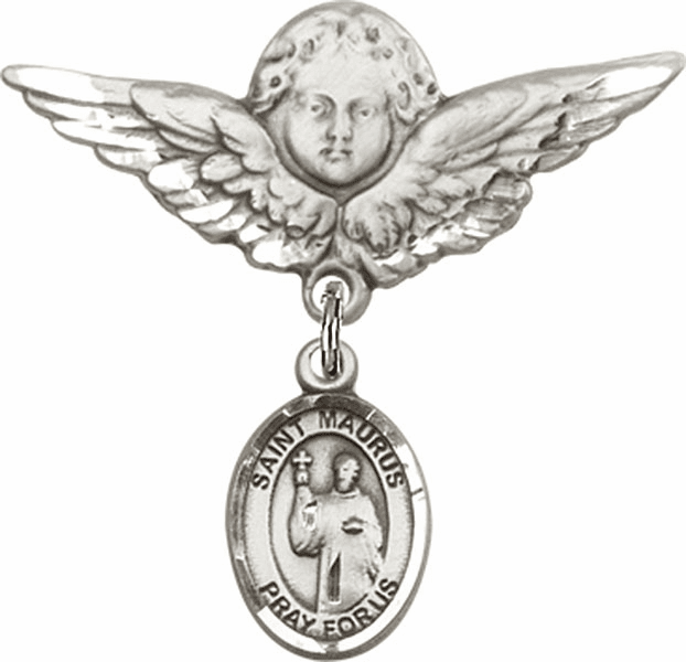 Bliss Angel w/Wings Label Pin Baby Badge with St Maurus Charm