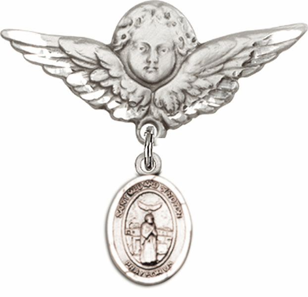 Bliss Angel w/Wings Label Pin Baby Badge with St Medard of Noyon Charm