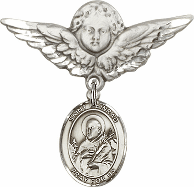 Bliss Angel w/Wings Label Pin Baby Badge with St Meinrad of Einsideln Charm