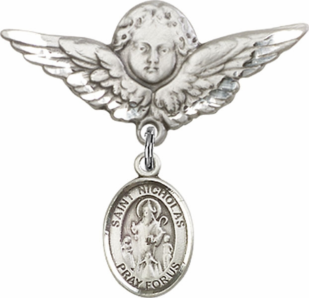 Bliss Angel w/Wings Label Pin Baby Badge with St Nicholas Charm
