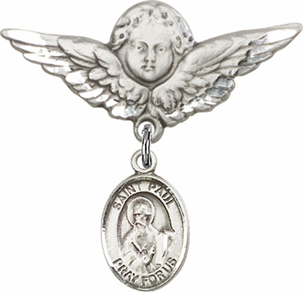 Bliss Angel w/Wings Label Pin Baby Badge with St Paul the Apostle Charm