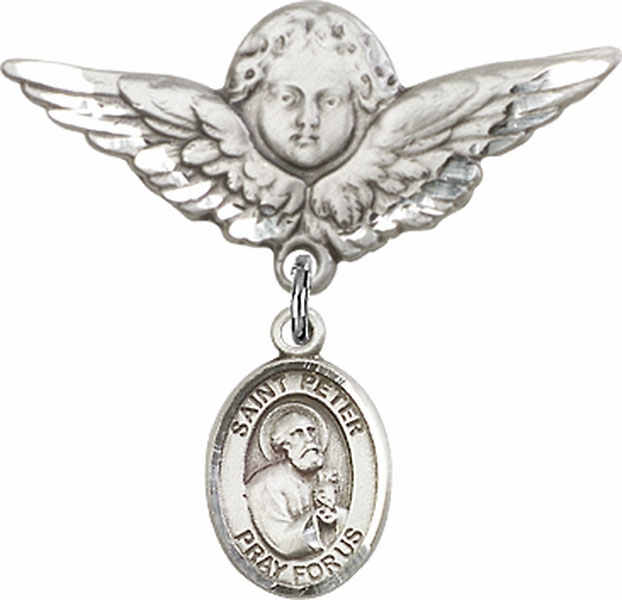 Bliss Angel w/Wings Label Pin Baby Badge with St Peter the Apostle Charm