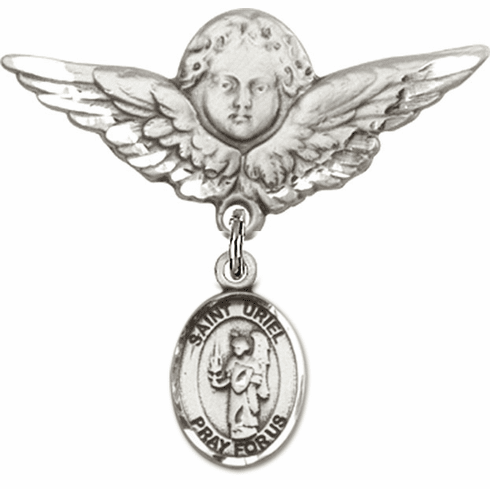 Bliss Angel w/Wings Label Pin Baby Badge with St Uriel the Archangel Charm
