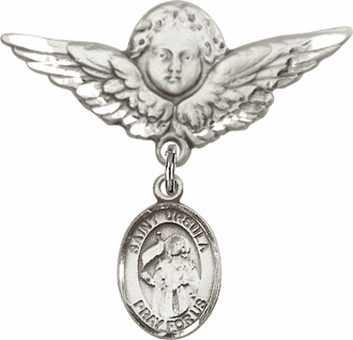 Bliss Angel w/Wings Label Pin Baby Badge with St Ursula Charm