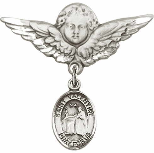 Bliss Angel w/Wings Label Pin Baby Badge with St Valentine of Rome Charm