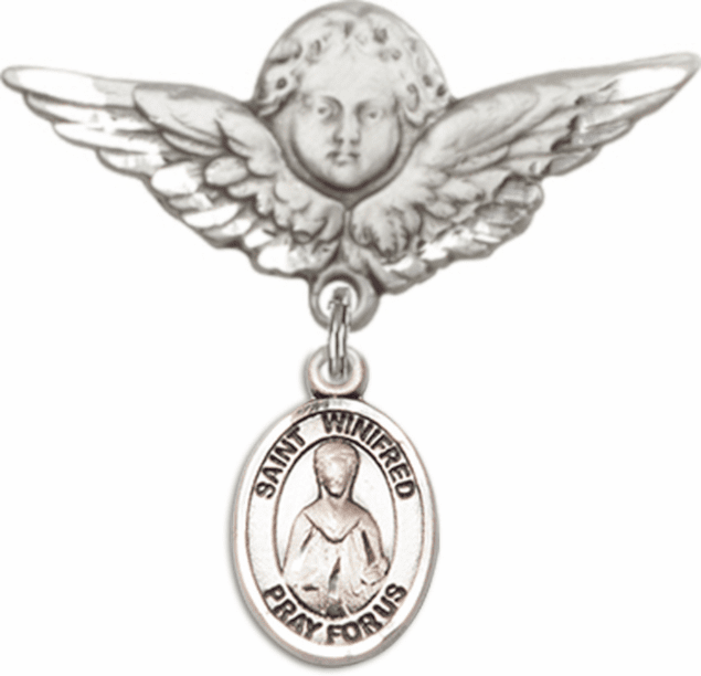 Bliss Angel w/Wings Label Pin Baby Badge with St Winifred of Wales Charm