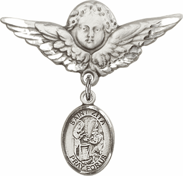 Bliss Angel w/Wings Label Pin Baby Badge with St Zita Charm