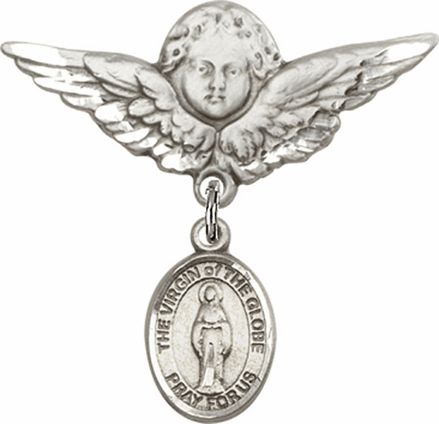 Bliss Angel w/Wings Label Pin Baby Badge with Virgin of the Globe Charm