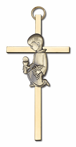 Bliss Antique Gold Communion Boy Wall Cross