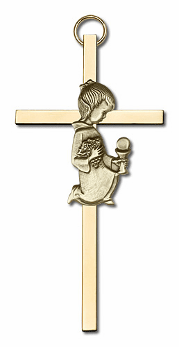 Bliss Antique Gold Holy Communion Girl on Brass Cross