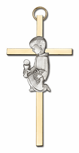 Bliss Antique Silver Communion Boy Cross