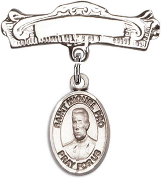 Bliss Baby Arched Badge Pin with Blessed Miguel Agustin Pro Charm