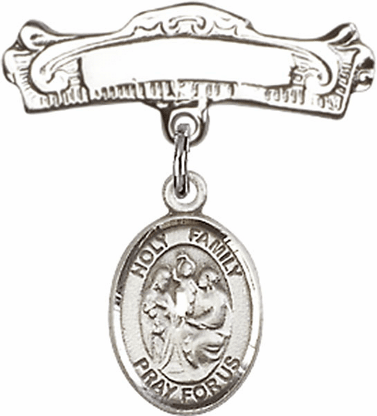 Bliss Baby Arched Badge Pin with Holy Family Charm