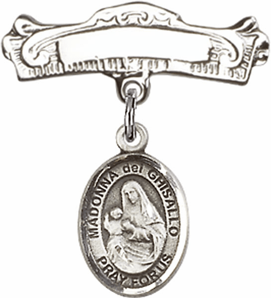 Bliss Baby Arched Badge Pin with Madonna Del Ghisallo Charm