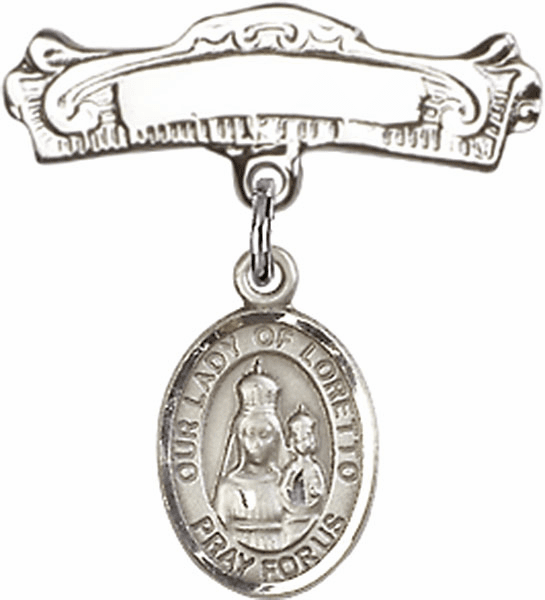 Bliss Baby Arched Badge Pin with Our Lady of Loretto Charm