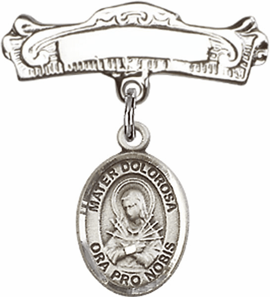 Bliss Baby Arched Badge Pin with Our Lady of Sorrows - Mater Dolorosa Charm