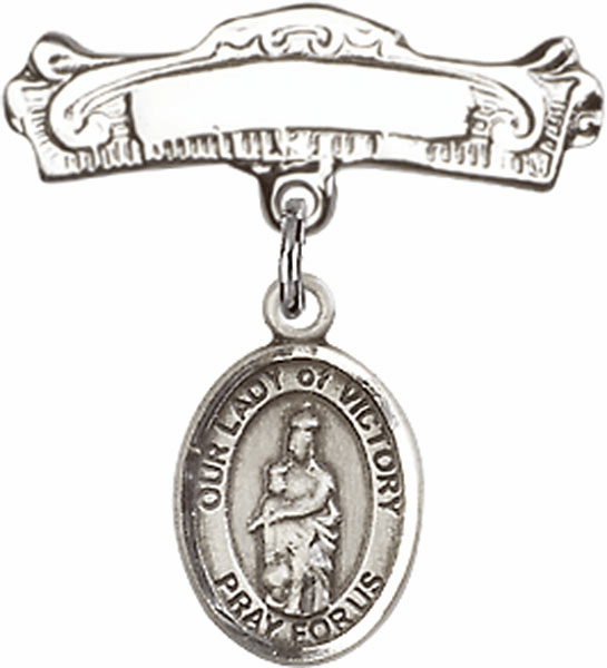 Bliss Baby Arched Badge Pin with Our Lady of Victory Charm